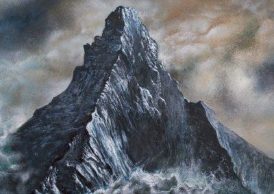 Cervino • 2016 • 31 cm. Ø • acrílico sobre madera • Realismo mágico · pintura