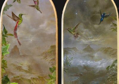 Divine garden, Crypt I • 2018 • 24,9 x 13,4 cm • 23.75 Karat Goldfolie rosenoble und acryl auf holzes. Seite A und B · Magischer Realismus · Malerei
