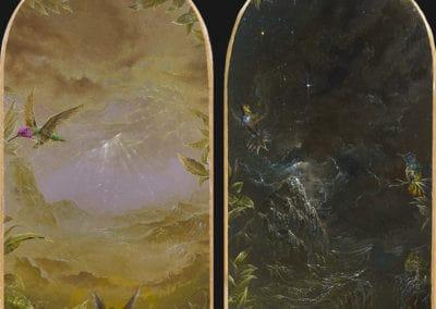Divine garden, Crypt II • 2018 • 24,9 x 13,4 cm • 23.75 Karat Goldfolie rosenoble und acryl auf holzes. Seite A und B · Magischer Realismus · Malerei