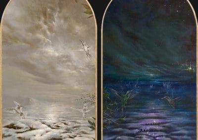 Divine garden, Crypt III • 2018 • 24,9 x 13,4 cm • 23.75 Karat Goldfolie rosenoble und acryl auf holzes. Seite A und B · Magischer Realismus · Malerei