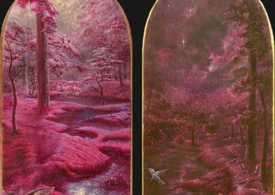 Divine garden, Crypt IV • 2018 • 24,9 x 13,4 cm • 23.75 Karat Goldfolie rosenoble und acryl auf holzes. Seite A und B · Magischer Realismus · Malerei