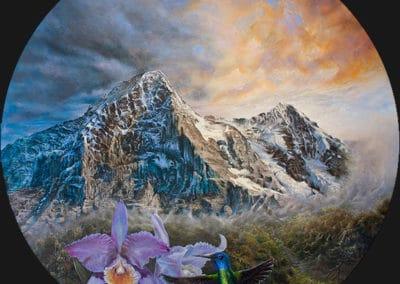 Eiger • 2017 • 36 cm. Ø • acryl auf holzes · Magischer Realismus · Malerei