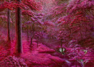 Pink garden • 2018 • 50 x 30,5 cm • acrílico sobre madera • Realismo mágico · pintura
