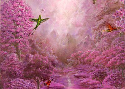 Pink garden II • 2019 • 55 x 33,5 cm • acrílico sobre madera • Realismo mágico · pintura