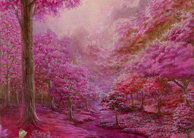 Pink garden III • 2018 • 35 x 21,5 cm • acrílico sobre madera • Realismo mágico · pintura
