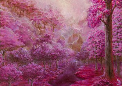 Pink garden IV • 2018 • 35 x 21,5 cm • acrílico sobre madera • Realismo mágico · pintura