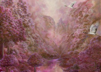 Japanese garden • 2020 • 131 x 81,5 cm • acrílico sobre madera • Realismo mágico · pintura