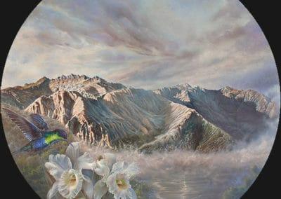 Hawea • 2017 • 36 cm. Ø • acryl auf holzes · Magischer Realismus · Malerei