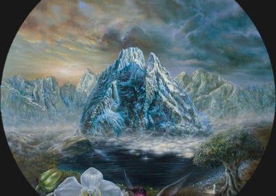 Symphony I • 2017 • 36 cm. Ø • acryl auf holzes · Magischer Realismus · Malerei
