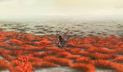Flying Over the Salicornia Grasslands • 2010 • 20 x 92 cm • acrylic on wood panel