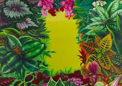Botánica Asiática • 2007 • 123 x 92 cm • acryl auf holzes · Magischer Realismus · Malerei
