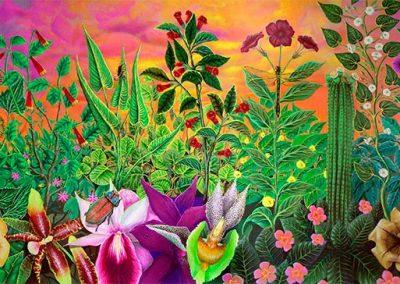 Botánica del Sur y Centro de América • 2003 • 46 x 155 cm • acryl auf holzes · Magischer Realismus · Malerei