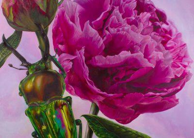 Caballero y princesa • 2011 • 160 x 160 cm • acrylique sur planche • Réalisme magique · Peinture