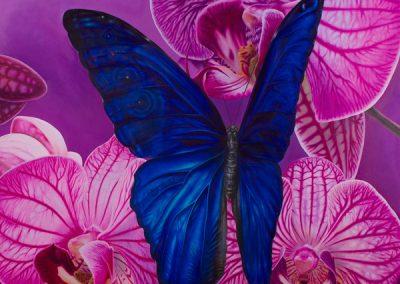 El encuentro de Morpheo • 2010 • 160 x 160 cm • acrylique sur planche • Réalisme magique · Peinture