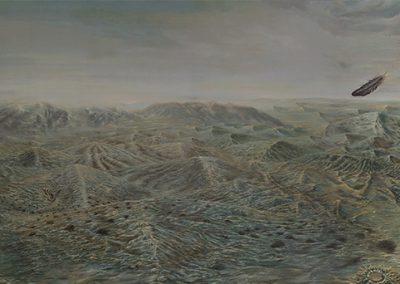 El pasajero de lo eterno • 2013 • 87 x 277 cm • acrylique sur toile • Réalisme magique · Peinture