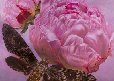 En busca del perfume • 2010 • 160 x 160 cm • acrylique sur planche • Réalisme magique · Peinture