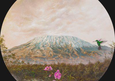 Kilimanjaro • 2016 • 31 cm. Ø • acrílico sobre madera • Realismo mágico · pintura