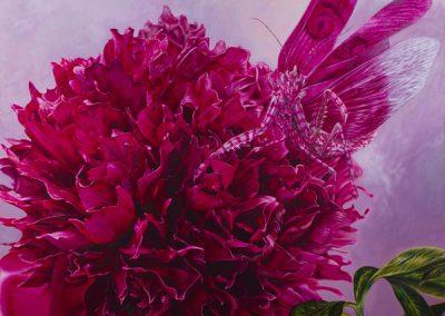 La morada de la Reina • 2011 • 160 x 160 cm • acrylique sur planche • Réalisme magique · Peinture