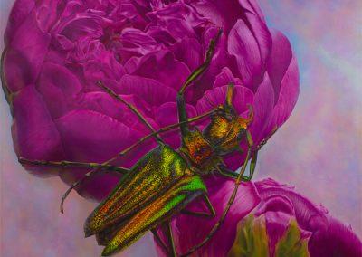 Seda y latón • 2010 • 160 x 160 cm • acrylique sur planche • Réalisme magique · Peinture