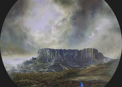 Tepuyes • 2016 • 31 cm. Ø • acrílico sobre madera • Realismo mágico · pintura