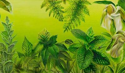 The garden of the sun III • 2017 • 20 x 92 cm • acryl auf holzes · Magischer Realismus · Malerei