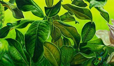 The garden of the sun IV • 2017 • 20 x 92 cm • acryl auf holzes · Magischer Realismus · Malerei