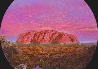 Uluru • 2016 • 31 cm. Ø • acrílico sobre madera • Realismo mágico · pintura